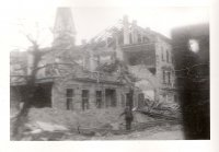 b025 - Wrecked building and German soldier falling as he gets hit. Coburg, Germany April 11, 194.jpg
