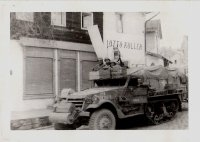 b130 - S-4 Halftrack. Regen, Germany. April 24, 1945. Stayed in Fleisch House. Plenty of meat (v.jpg